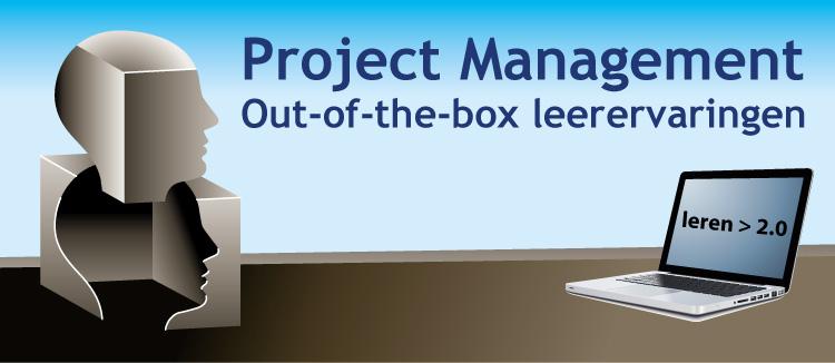 """Gezicht uit een doos, met de tekst """"out of the box"""" leerervaringen."""